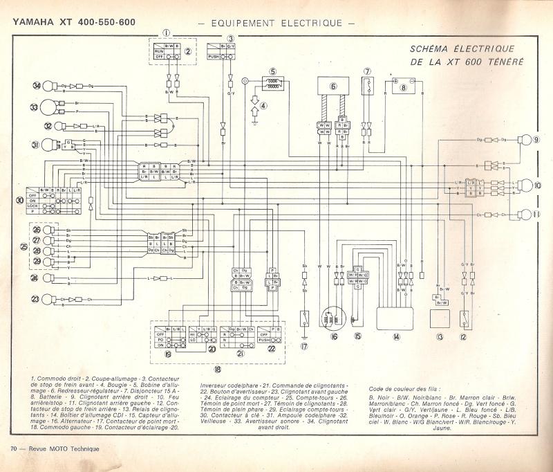 Schema Elettrico Yamaha Xt 600 : Schema elettrico xt prépa ttr page contemporanea in