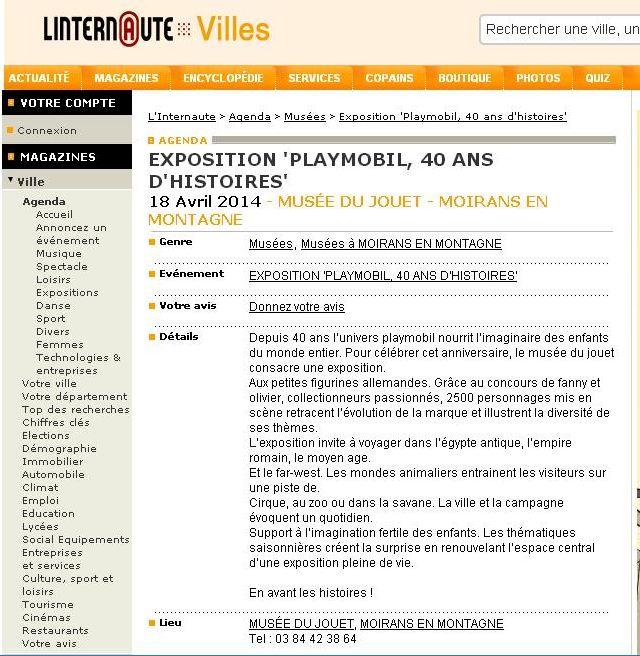 linternaute villes expo playmobil fanny et olivier