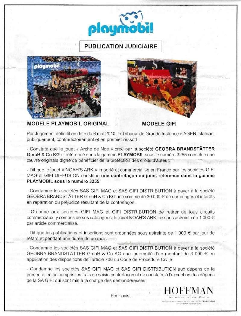 Publication judiciaire de Playmobil contre Gifi . Fanny & Olivier