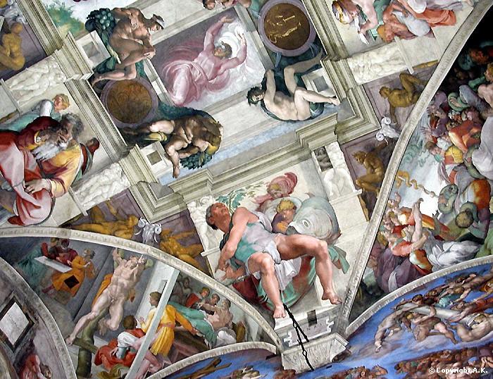 Le plafond de la sixtine michel ange - Michel ange chapelle sixtine plafond ...
