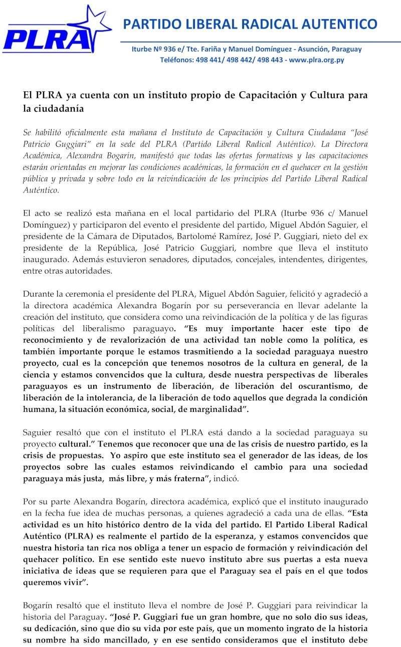 El PLRA ya cuenta con un instituto propio de Capacitación y Cultura para la ciudadanía