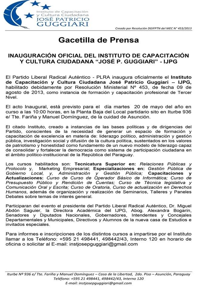 """INAUGURACIÓN OFICIAL DEL INSTITUTO DE CAPACITACIÓN Y CULTURA CIUDADANA """"JOSÉ P. GUGGIARI"""" - IJPG"""