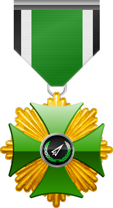 Gold level of the Green Cross of the Silver Arrows - This award is given to a member who distinguished in a number of contributions made to the clan in the form of equipment, money or knowledge. Gold level is the third of six.