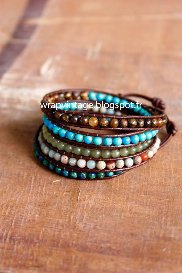 Et hop un autre bracelet Wrap Vintage avec de la jade, oeil de tigre,  turquoise, malachite